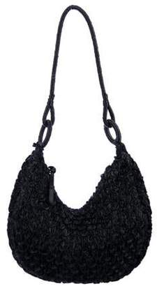 Giorgio Armani Woven Shoulder Bag Black Woven Shoulder Bag