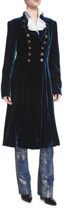 Ralph Lauren Collection Benita Velvet A-Line Coat, Prussian Blue $2,990 thestylecure.com