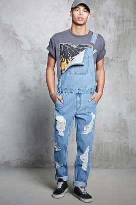 FOREVER 21+ Distressed Denim Overalls $34.90 thestylecure.com