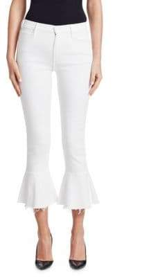 Mother The Cha Cha Frayed Ruffle Hem Jeans
