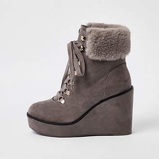 River Island Grey lace-up wedge heel boots