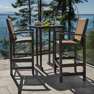 Polywood 3-piece Coastal Outdoor Bar Chair & Table Set