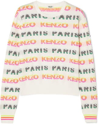 Kenzo Intarsia Cotton-blend Sweater - White