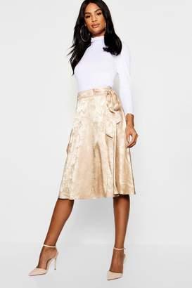 boohoo Tall Jacquard Satin Midi Skirt