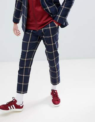Asos DESIGN skinny crop suit pants in navy seersucker windowpane check