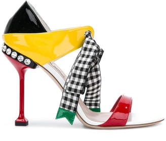 Miu Miu studded gingham bow sandals