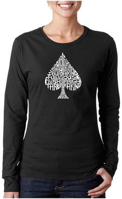 LOS ANGELES POP ART Los Angeles Pop Art Order Of Winning Poker Hands Long Sleeve Graphic T-Shirt