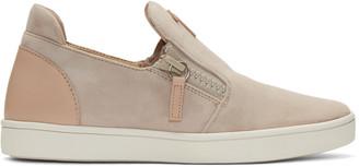 Giuseppe Zanotti Pink Suede London Slip-On Sneakers $650 thestylecure.com