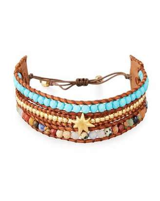 Chan Luu Three-Strand Pull-Tie Bracelet in Turquoise