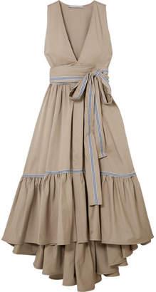 Silvia Tcherassi - Vico Striped Canvas-trimmed Tiered Cotton-blend Twill Midi Dress - Mushroom
