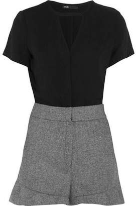 Maje Woven And Twill Playsuit