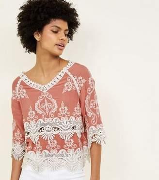 New Look Dark Coral Crochet 3/4 Sleeve Top