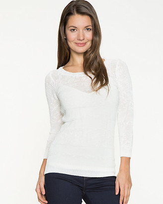 Le Château Linen Blend Scoop Neck Sweater