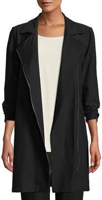 Eileen Fisher Washable Stretch Crepe Moto Jacket, Plus Size