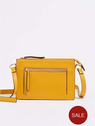 Warehouse Double Compartment Cross Body Bag - Yellow