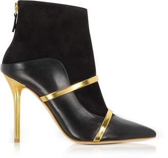 Malone Souliers Black and Gold Nappa Leather and Suede High Heel Boots