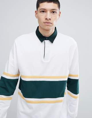 Asos Design Relaxed Long Sleeve Rugby Polo Shirt With Contrast Panelling In White