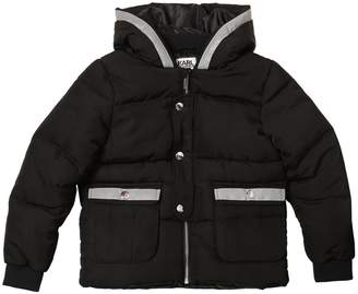 Karl Lagerfeld Hooded Nylon Puffer Jacket