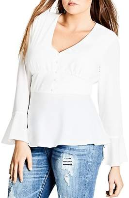 City Chic Plus Bell Sleeve Top