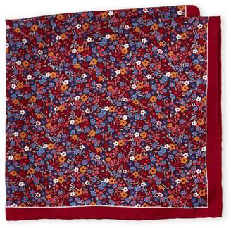 Piattelli Bruno Red Floral Silk Pocket Square