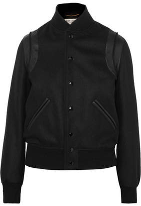Saint Laurent Teddy Leather-trimmed Wool-blend Bomber Jacket - Black