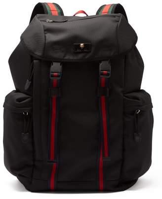 Gucci Web Striped Canvas Backpack - Mens - Black