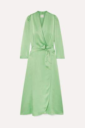 Forte Forte forte_forte - Hammered Silk-satin Wrap Dress - Light green