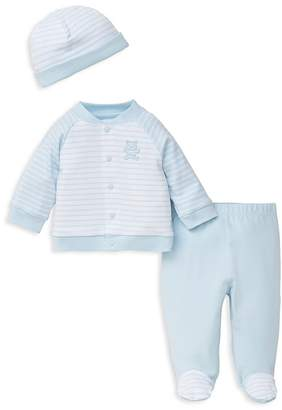 Little Me Boys' Striped Cap, Embroidered-Bear Jacket & Footie Pants Set - Baby