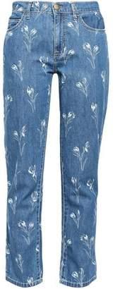 Current/Elliott Floral-print Mid-rise Straight-leg Jeans