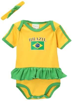 PAM GM Brazil Baby Girl Soccer Ruffle Bodysuit