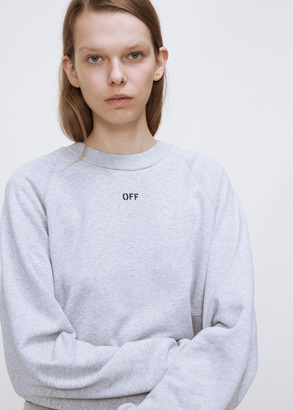 Off-White melange grey daisy woman pleat crewneck $554 thestylecure.com