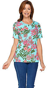 Denim & Co. Floral Printed Knit Top with LaceTrim Detail
