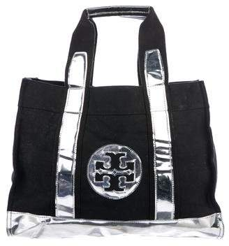 Tory Burch Leather-Trimmed Elle Tote - BLACK - STYLE
