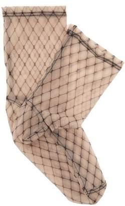 Darner Socks - Fishnet Print Mesh Ankle Socks - Womens - Black Multi