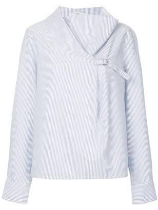 Tibi Striped Oxford Drape Neck Top