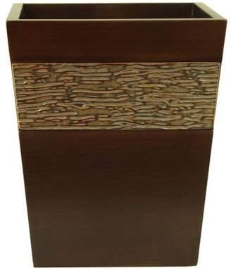 "Bacova Guild Lakeside Wooden 9.75"" Wastebasket with Carved Stoneware decoration"
