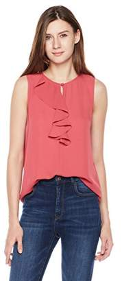 Essentialist Women's Crepe Shell Top with Flouncing