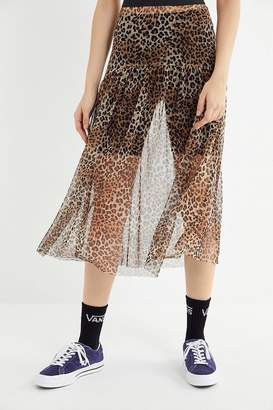 Urban Renewal Vintage Remnants Cheetah Mesh Midi Skirt