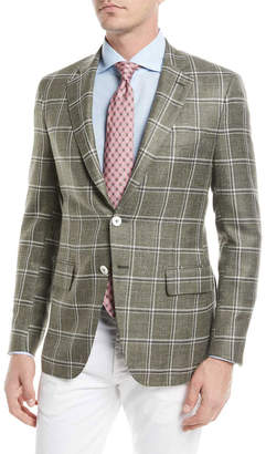 Isaia Windowpane Twill Two-Button Jacket