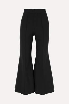 Chloé Cropped Wool-blend Flared Pants - Black