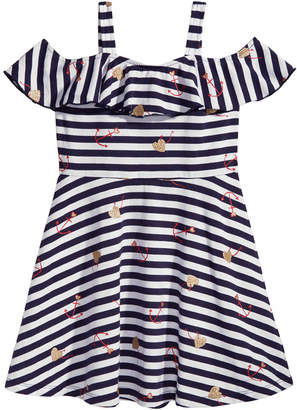 Epic Threads Striped Graphic-Print Dress, Little Girls, Created for Macy's