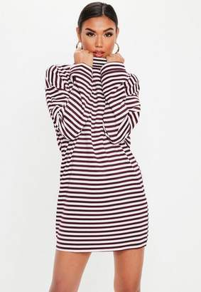 4c72a48b527 Missguided Berry High Neck Stripe Sweater Dress