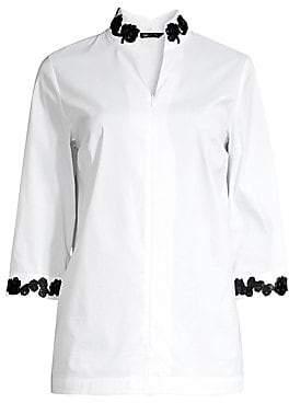 Misook Women's Embroidered Trim Zip Blouse
