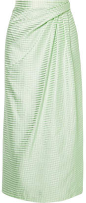 Carolina Herrera Gathered Gingham Silk-satin Jacquard Midi Skirt - Mint