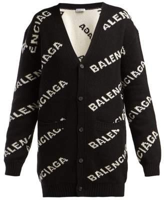Balenciaga Logo Jacquard Cardigan - Womens - Black White