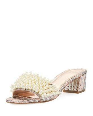Tory Burch Tatiana Pearly Tweed Slide Sandal, Pink/Metallic $350 thestylecure.com