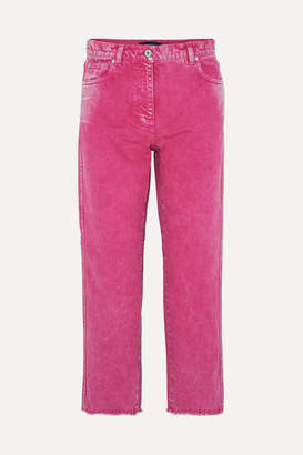 Cédric Charlier Cropped Acid-wash High-rise Straight-leg Jeans - Fuchsia