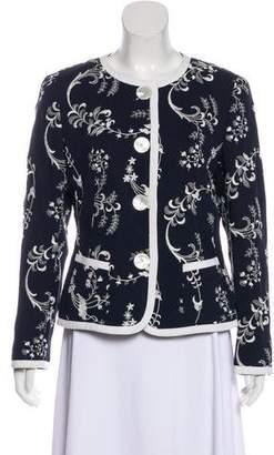 Rena Lange Embroidered Scoop Neck Blazer