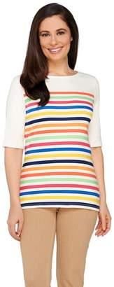 Liz Claiborne New York Multi-Stripe Elbow Sleeve T-Shirt