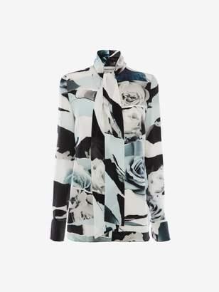 Alexander McQueen Torn Rose Silk Shirt